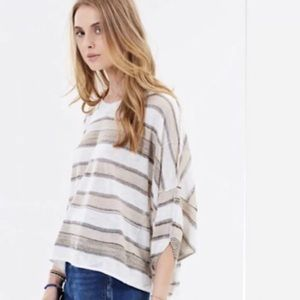 FREE PEOPLE Love Me Too Striped Knit Tee Top NWT